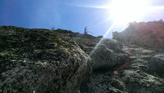 Rock Climbing Photo: looking up at p5 of left variation. End at large d...