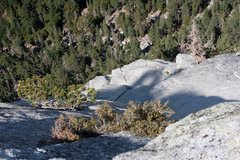 Rock Climbing Photo: looking back at the final pitch (p5) of the left v...