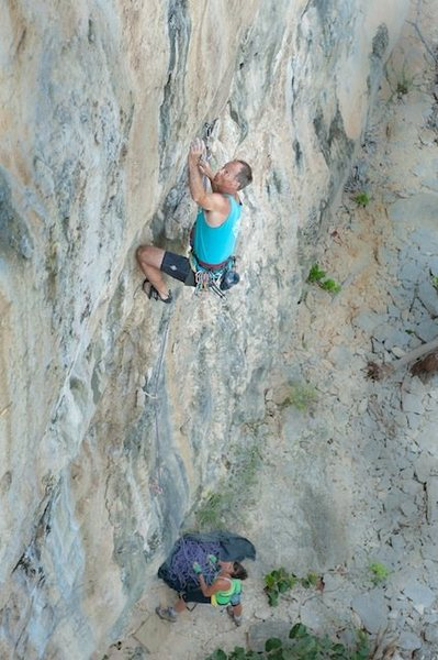 Reaching for the mono on Out of Africa, 11d.