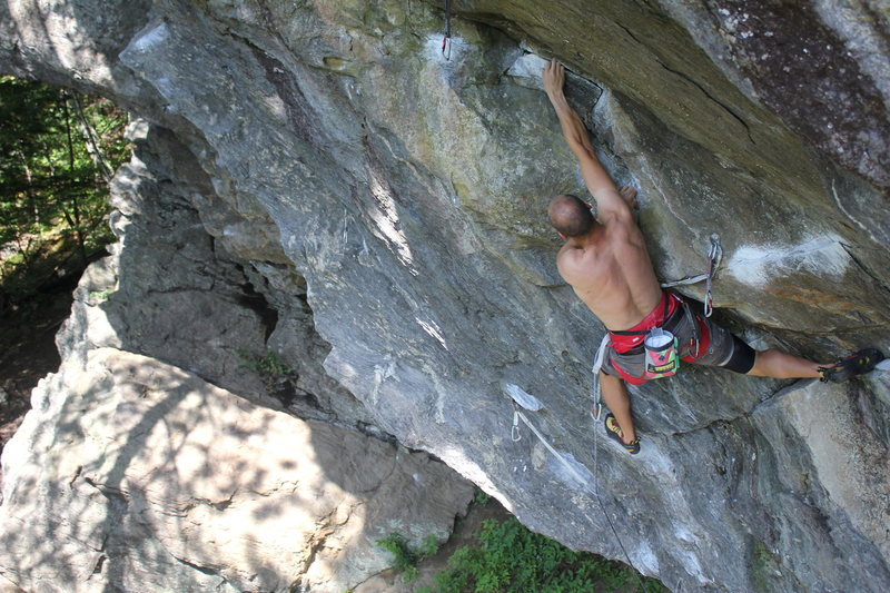 Rock Climbing Photo: Andy Neuman on the flying Monkeys crux portion.