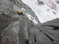 Rock Climbing Photo: Tara coming up P1 of Woza Moya. Nice chimney above...