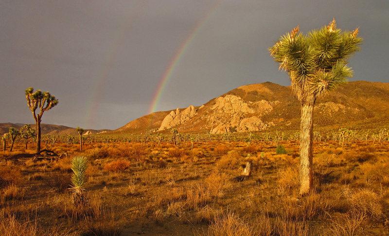 Rock Climbing Photo: Rainbow over Saddle Rocks and Ryan Mountain