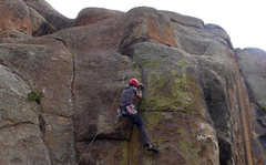 Rock Climbing Photo: Climber just above the crux (1st bolt) on Jack and...