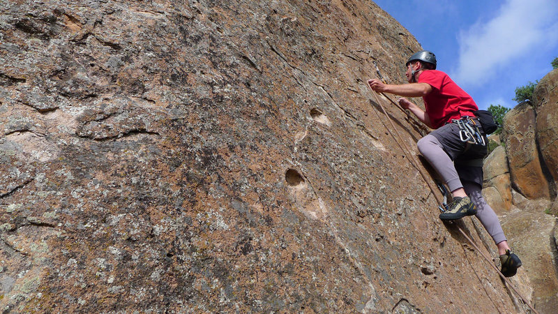 Rock Climbing Photo: Clipping a bolt on Ms. Cool.
