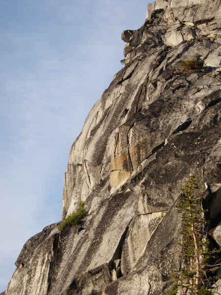 Rock Climbing Photo: Unknown climber on pitch 4. Classic pitch that is ...