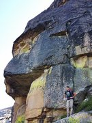 Rock Climbing Photo: Jonathan standing below Game Face, with the double...