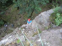 Rock Climbing Photo: Chris Bonington coming up first pitch of Brown Cra...