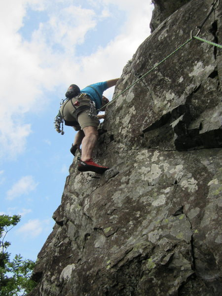 Chris on second Pitch . Brown Crag Wall