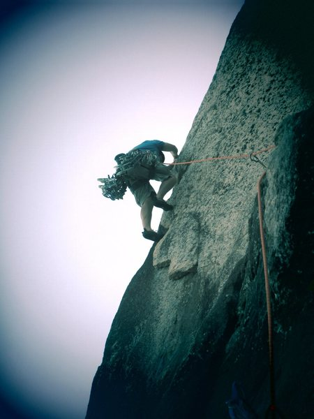 Rock Climbing Photo: George steppin out onto the flake. We were told to...