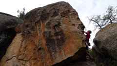 Rock Climbing Photo: About to pull onto the arete after clipping the 1s...