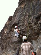Rock Climbing Photo: Justin on the first overhang move making the route...