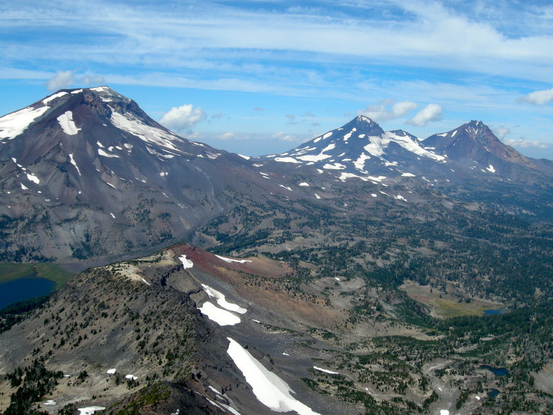 The Three Sisters. From the left, South Sister, Middle Sister, and North Sister. Photo taken from Broken Top, mid August, 2013.