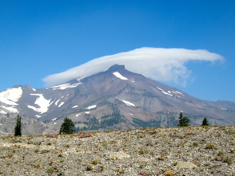South Sister, 10,358'.  Photo taken from approach to Broken Top.