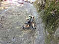 Rock Climbing Photo: The super fun lieback crack at the beginning - eve...