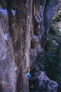 Rock Climbing Photo: J.Snyder on FA of Lacuna 35mm by T.Hastie