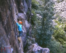 Rock Climbing Photo: Moving into final crux on Lacuna