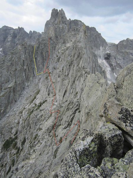 Rock Climbing Photo: Solo Flight descent route from summit of climb. Th...
