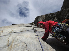 Rock Climbing Photo: The wide crack that starts the 4th pitch--or 3rd f...