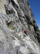 Rock Climbing Photo: Adam starting the traverse pitch.