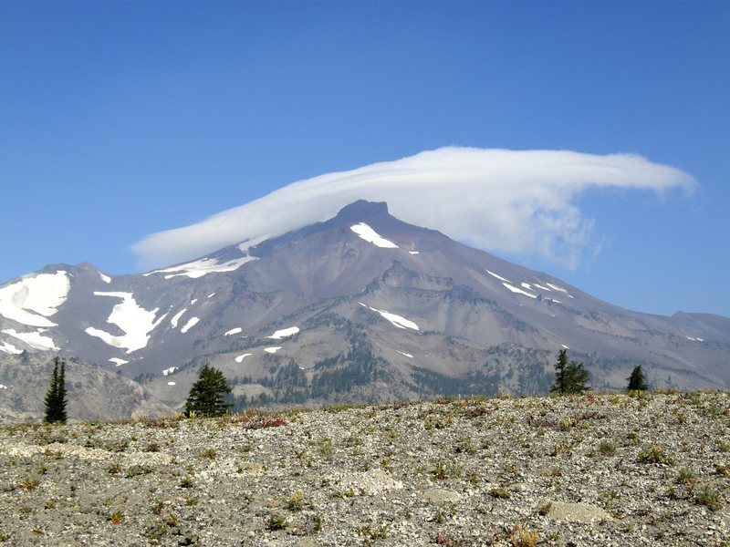 South Sister, South Side route follows the skyline on the left. Photo taken mid August, 2013.