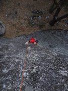 Rock Climbing Photo: Pulling the crux of Bullet Ride.