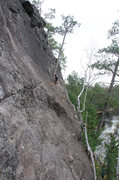 Rock Climbing Photo: Tree halfway up the route. Feel free to make this ...
