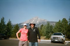 Kyle and I beneath Teewinot in Jenny Lake Parking area