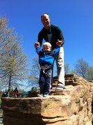 Rock Climbing Photo: Topping out with my Nephew