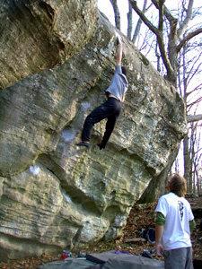 Luke on the first ascent of Michael Jordan, V12
