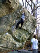 Rock Climbing Photo: Luke on the first ascent of Michael Jordan, V12