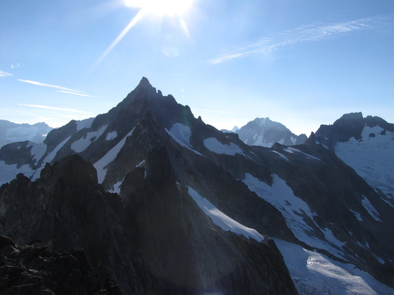 The traverse seen from the top of Mt. Torment (Forbidden Peak being the prominent spire in the background)