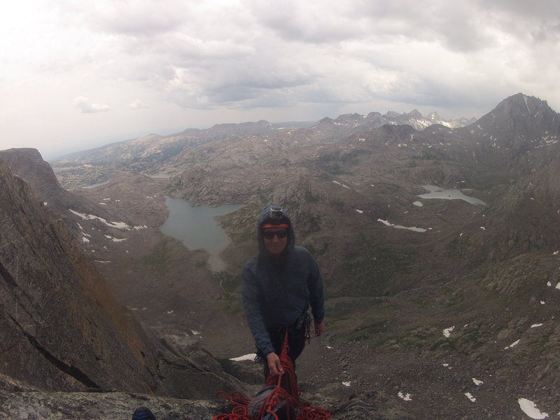 Top of pitch 5 on North Ridge/Arete of Ellingwood Peak, WY.  Lake 10,813 (think that's the elevation) behind me.