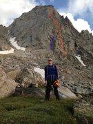 Rock Climbing Photo: Ellingwood Peak, WY North Ridge/Arete.  The red li...