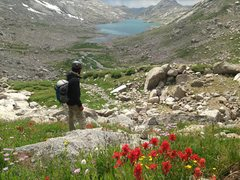 Rock Climbing Photo: Hiking back to camp, far end of the lake.