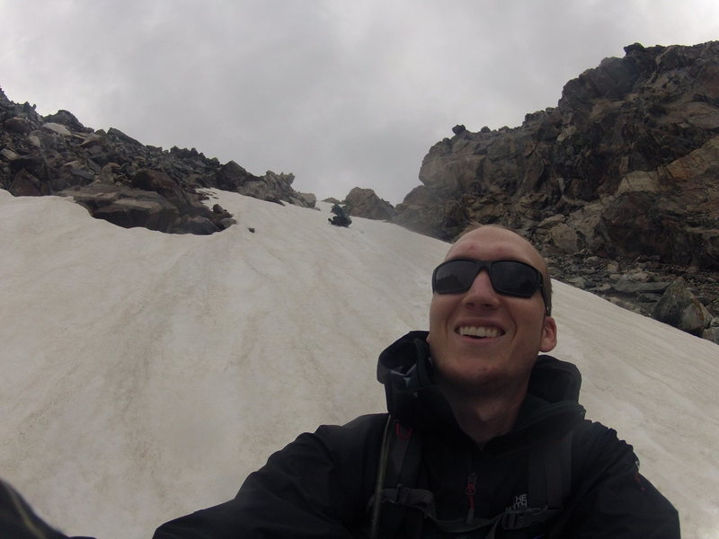 Glissading down from Bonney Pass