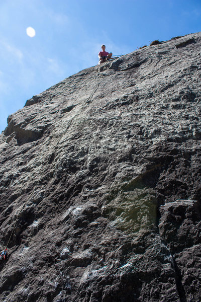Rock Climbing Photo: My friend at the top of the route on a nice day at...