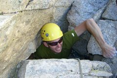 Rock Climbing Photo: Re-birthing at the top of the Incredible Hulk.