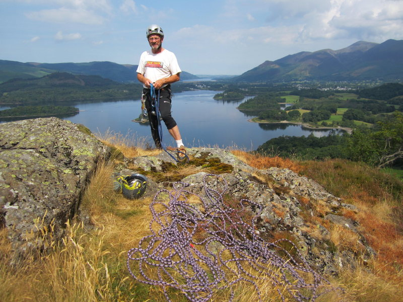 Rock Climbing Photo: On the top of Lower Falcon Crag after climbing Hed...