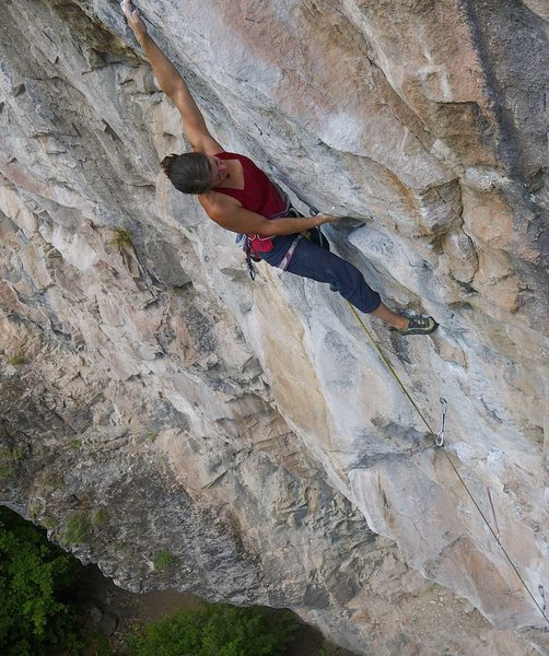 Jess Groseth on Movement of Fear, 5.12c.<br> <br> James Lucas photo.