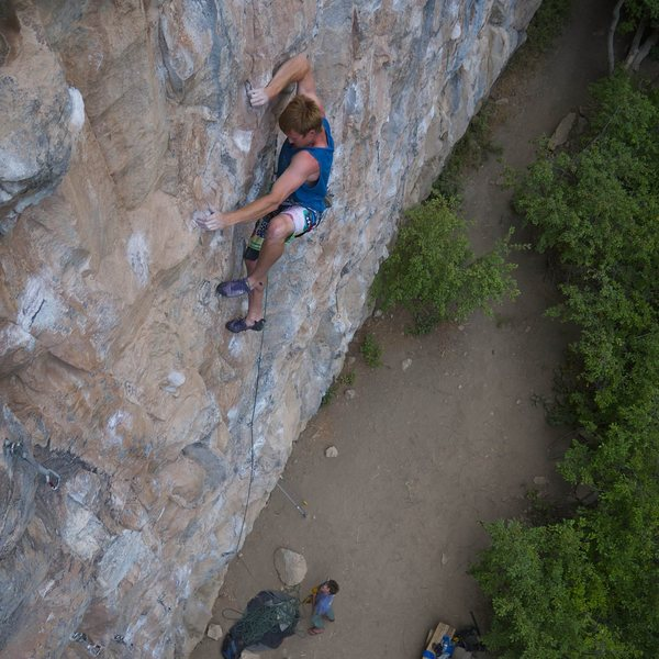 Simon Longacre on Poetic Justice, 5.13a.<br> <br> James Lucas photo.