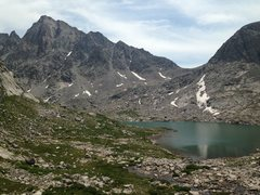 Looking south into Indian Basin, with lake 10,813 center, Ellingwood Peak left, and Elephant Head right.