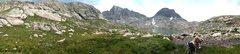 Panorama of South Indian Basin, with Ellingwood Peak, Lake 10,813, and Elephant Head.