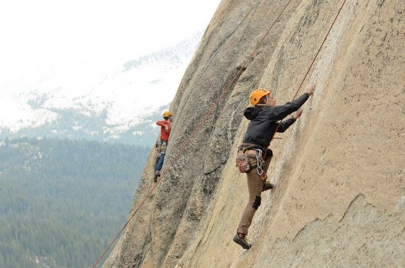 Rock Climbing Photo: Tuolumne rainy day top roping with some folks.