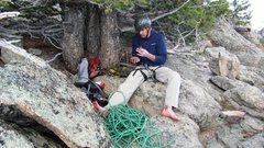 Rock Climbing Photo: Joe Ebert after climbing Mainliner, Sundance Buttr...