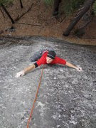 Rock Climbing Photo: Working the thin moves on the sustained upper sect...