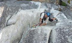 Rock Climbing Photo: Climbing the crux pitch of Squamish Buttress