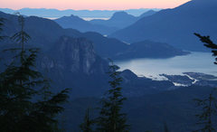 Rock Climbing Photo: the Chief, with Howe Sound,  from along the hike t...