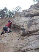 Rock Climbing Photo: Just before the awkward step around corner on uppe...