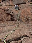 Rock Climbing Photo: Sasha getting to the anchors.
