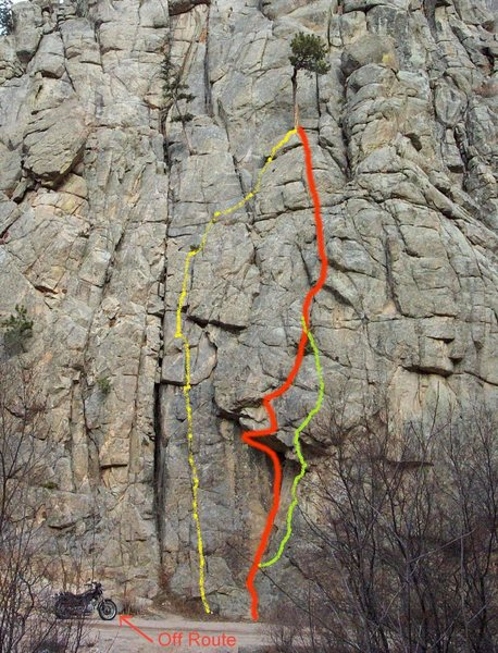 Rock Climbing Photo: The yellow lined route is West Face Direct, red is...